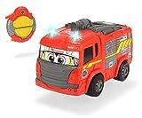 Dickie Toys 203816032 Feuerwehr IRC Happy Fire Truck, Feuerwehrauto m. Infrarot-Fernbedienung, Rosenbauer, fährt vorwärts geradeaus, rückwärts um die Kurve, Geschwindigkeit bis zu 2 km/h, 27 cm, rot