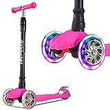 Roller Kinder Dreiradscooter mit PU LED Leuchtenden Räder,einstellbaren Höhe und Doppel-Hinterrad Big Rädern Kinderscooter für Kinder Jungen Mädchen 3-12 Jahre alt (Pink)
