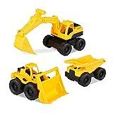 Relaxdays 10023916 Spielzeug Baufahrzeuge, 3er Set mit Bagger, Frontlader & LKW, für Sandkasten & Kinderzimmer, aus Kunststoff, Gelb