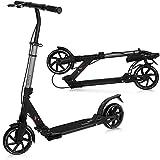 City Scooter X-Way   mit klappbar und höhenverstellbar   Handbremse   breite Räder XXL   Zwei Stoßdämpfer   für Kinder & Erwachsene   Gewicht 5,6 kg