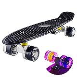 Baytter 22 Zoll Skateboard Komplett Board Mini-Cruiser aus 7-lagigem Ahornholz 57 x 15cm für Kinder, Jugendliche und Erwachsene mit ABEC-11 Kugellager und 95A Rollenhärte, 8 Farben wählbar (Schwarz)