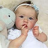 huihuay 58cm Realistische Saskia Reborn-Baby-Puppen Graue Augen Mädchen Vollsilikon-Puppe-Niedliche Lebensechte Baby-Puppen Für Mädchen, Für Kinder