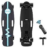 CAROMA Elektrisches Longboard Skateboard, 20 km / h, 8 Meilen Reichweite, 350 W Motor, 8-lagiges Ahorndeck, Longboard mit Fernbedienung für Erwachsene Teenager Kinder (Blau)