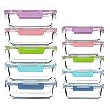 CREST 10-er Set Glas Frischhaltedosen, Meal Prep Boxen mit Deckel, Glasbehälter, BPA-frei, perfekt für Meal prep