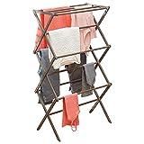 mDesign Wäscheständer aus Bambus – ausziehbarer Turmtrockner mit 3 Ebenen – platzsparender Standtrockner in modernem Design – grau