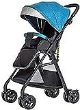YQLWX Kinderwagen Hotmutter Kinderwagen Kinderwagen, Buggy mit Liegender Position, tragbar, kompakter, Pram-Reisesystem-Regenschirm, blau