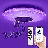 Deckey 32W LED Deckenleuchte farbwechsel mit Fernbedienung, Dimmbar Stern Deckenlampe farbige musik Ceiling Light mit Bluetooth-Lautsprecher kinderzimmerlampe Ø 39cm