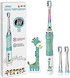 SEAGO Elektrische Zahnbürste Kinder ab 3-12 jahre Kinderzahnbürsten Elektrisch mit Farbigem Licht Smart Timer 3 Weich Bürstenköpfes Wasserdicht Baby Schallzahnbürste für Mädchen Jungen SG-977 (Grün)