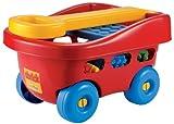 #11 Kinder Bollerwagen mit 60 Stück Kleinkind Bausteine Spielzeug für Draußen und Drinnen Bauklötze Puppenwagen Strandwagen