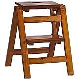 ESGT Klapptreppe Klapptritt Hocker Aus Holz 2 Stufen Leicht Und Klappbar Tritthocker Für Zuhause Bibliothek Loft Leiterregale - Maximale Belastung 150kg