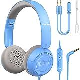 Kinder Kopfhörer New Bee Kabel Kinderkopfhörer mit Mikrofon zum Lernen für Jungen und Mädchen Headset Kinder mit Lautstärkebegrenzer 85dB 94dB für Phone Pad PC Laptop Tablet (Blau)