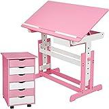 TecTake 800062 Kinderschreibtisch mit Rollcontainer Schreibtisch neig- & höhenverstellbar -Diverse Farben- (Pink   Nr. 401240)