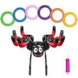 ZERHOK Halloween Aufblasbarer Spinnen Wurfspiele Draußen Familie Party Hut Ringwurfspiel Outdoor Halloween Spiele für Kinder Erwachsene Jungenmit 6Stk Wurfringen(Rot)