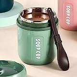 Thermobehälter 480ml Joghurtbecher to go Thermo Lunchbox Kinder und Erwachsene Edelstahl Thermo Essensbehälter für Babynahrung, Suppen,Praktischer Müslibecher (Grün)