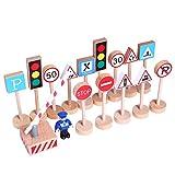 Benoon 16 Stück Verkehrsschilder Spielzeug Enhance Concept Holz Erleuchtung Verkehrszeichen Spielzeug für Kinder