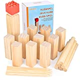 GOLDGE Kubb Spiel Wikingerschach Spiel Holzfiguren Wurf Spiel Holzspiel für Kinder Erwachsene Outdoor Spiele