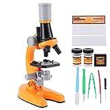 Dilwe Mikroskop-Kit, 40X-1200X High-Definition-Mikroskop für Kinder Monokulares Kunststoff-Biologisches Mikroskop Wissenschaftliche Forschung Bildungswerkzeuge(orange)