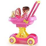 Yulihaoo Kinder-Kinderwagen, Puppenwagen, Kleinkinder, Kinderspielzeug, Buggy, Einkaufswagen, Baby-Spielzeug für Säuglinge für Mädchen, Babys, Geburtstagsgeschenke mit Puppe, 45,7 cm Set