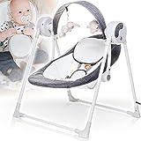 Elektrische Babyschaukel (vollautomatisch) mit 12 Melodien (Lautstärke regelbar), 3 Timerfunktionrn und 5 Schaukelgeschwindigkeiten (GRAU)