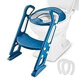 Mture Töpfchentrainer Kinder Töpfchen Toilettensitz Trainer Sitz für Kinder Toiletten Training mit Treppe Armlehnen PU Gepolstert, Rutschfest Stabil Klappbar für 1-7 Jährige Kids