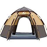 HEWOLF Camping Zelt 3-4 Personen Kuppelzelt Wasserdicht UV-Schutz Pop Up Zelt Doppelschicht Wurfzelt Sechseckiges Sekundenzelt Großes Familienzelt mit Regenfliege Tragetasche Braun