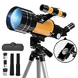Teleskop Astronomie, 70/300 mm astronomisches Refraktor-Teleskop mit Stativ und Sucher für Kinder/Anfänger, tragbares Reiseteleskop mit Smartphone-Adapter und drahtloser Fernbedienung