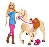 Barbie FXG94 FXH13 Pferd mit Mähne und Puppe mit beweglichen Knien, Puppen Spielzeug und Puppenzubehör ab 3 Jahren