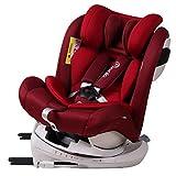 Bonio Kindersitz 360° Drehbar Gruppe 0+/1/2/3, Ab Geburt bis ca. 12 Jahre 0-36kg Autositz mit Isofix und Sonnendach (Rot)