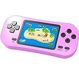 ZHISHAN Handheld Spielkonsole für Kinder Eingebaute 218 Klassische Retro Elektronisches Video Spiele 2.5 ' LCD 3,5' Kopfhöreranschluss Wiederaufladbar Arcade (Rosa)