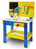 wuuhoo® I Kinderwerkbank Woody aus Holz mit Zubehör I Spiel Werkbank I Farbenrohes Holzspielzeug I Mobile Werkstatt mit Werkzeug und Schraubstock für Kinder und kleine Handwerker