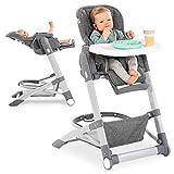 Hauck Baby-Hochstuhl Grow Up mit Liegefunktion ab Geburt - mit Tisch, Rollen, klappbar, mitwachsend und höhenverstellbar - Grau Melange