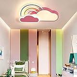 Kinderzimmer LED Deckenleuchte Dimmbar Kinderzimmerlampe Deckenlampe Modern 3 Stern Wolken Design Acryl-schirm Kinder Mädchen Junge Schlafzimmer Deko Wohnzimmer Decke Lampe Esszimmer Bad Flur Lampen