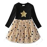 VIKITA Mädchen Kleider Langarm Kleid Blume Baumwolle Herbst Kinderkleidung LH4880 6T