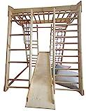 Kinder zu Hause aus Holz Spielplatz mit Rutschbahn ˝Akvarelka-Lak˝ Kletternetz Ringe Kletterwand !Zertifikat!