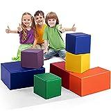 COSTWAY 7 TLG. Schaumstoffbausteine, Softbausteine aus Schaumstoff, Bausteinset, Großbausteine, Bauklötze, Schaumstoff-Block für Kinder im Vorschulalter, Babys und Schulkinder, bunt (Modell 2)