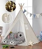 Haus Projekt Tipi Zelt Set Kinder mit Zubehör, Lichterkette, Wimpelkette, Aufbewahrungstasche & Bodenmatte – Kinderzimmer Spielzelt 100% Baumwoll, für drinnen/draußen (160cm hoch) CE-Zertifiziert