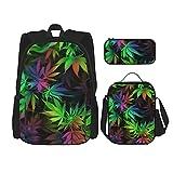 Rainbow Weed Leaves Schulrucksack-Set 3-teilig für Jungen und Mädchen (Schulranzen + Federtasche + Lunchtasche Kombination)