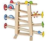 TollesFürKinder Kugelbahn Holz, Murmelbahn Holz Baby Spielzeug, Kugelbahn Auto Kinder Spielzeug Holz
