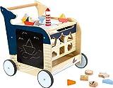 Small Foot 11608 Lauflernwagen Wal aus Holz für erste Gehversuche, multifunktional zur Förderung der Motorik für Kinder ab 1, Mehrfarbig, 1 Stück (1er Pack)