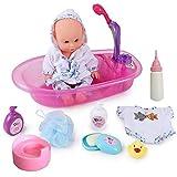Rvest Baby Badespielzeug Für Kinder,Puppen Badewanne,Baby BO-rn Puppe Ba-by Born Badewanne,Badewanne Spielpuppe Abnehmbar Bildungsbadezeit Spielspielzeug-Set