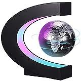 PZJFH Magnetische Schwebender Globus,Beleuchtet 3.5 Zoll C-förmiger Weltkarten Globus mit LED-Farblichtern für die Schreibtisch Deko Kinderspielzeug,Geburtstag und Urlaub (Schwarz)