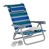 Relaxdays Liegestuhl klappbar, verstellbar, Strandstuhl mit Nackenkissen, Armlehnen & Flaschenöffner, blau/grün/weiß, 1 Stück