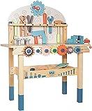 labebe Werkbank aus Holz, Spielzeug für Kinder ab 3 Jahren, Kinder-Bauset mit Werkzeug, Rollenspiel-Spielzeug für Kinder, Jungen und Mädchen, 59,69 x 29,7 x 79,5 cm
