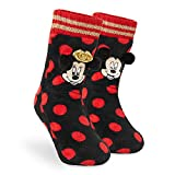 Disney Damen Socken, Stoppersocken Damen, Mickey Mouse and Minnie Mouse Kuschel Socken Damen