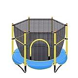 JTING Kinder Outdoor Trampolin Unterhaltung, Geburtstagsgeschenk, Erwachsene Fitness Gartentrampolin Bodentrampolin, Belastung 150kg, 1,5×1,3m Hüpfbett, Gelb/Pink/Blau