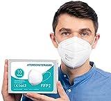 FFP2 Maske CE Zertifiziert [10 Stück] CE1463 Atemschutzmaske Mundschutz, DERMATEST® sehr gut