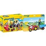 PLAYMOBIL 1.2.3 - 70125 Schaufelbagger mit Bauarbeiter, ab 1,5 Jahren & 1.2.3 - 6964 Traktor mit Anhänger, ab 1,5 Jahren
