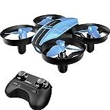 SANROCK U46 Mini Drohne für Kinder und Anfänger, RC Quadrocopter mit Blaue LED, Mini Helikopter mit Höhehalten, Kopflos Modus, 3D Flips und 3 Geschwindigkeitsmodi, Blau