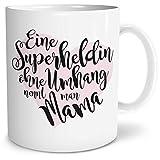 OWLBOOK Superheldin Mama Große Kaffee-Tasse mit Spruch im Geschenkkarton Muttertagsgeschenk Geschenke Geschenkideen für Mama zum Geburtstag Muttertag