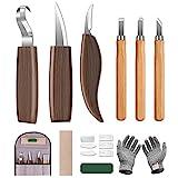 Holz Schnitzwerkzeug Set, 10 in 1 Schnitzmesser Set mit 6*Messer Schnitzen Stechbeitel, Schnittfeste Handschuhe, Ölwachs, Polierband, Aufbewahrungstasche, Ideales Schnitzset für Anfänger und Profis